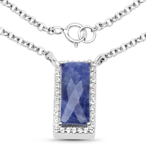 LoveHuang 2.16 Carats Genuine Blue Aventurine and White Topaz Baguette Pendant Solid .925 Sterling Silver With Rhodium Plating, 18 Inch Chain