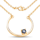 LoveHuang 0.25 Carats Genuine Blue Sapphire Minimalist Horseshoes Necklace Solid .925 Sterling Silver With 18KT Yellow Gold Plating, 18Inch Chain