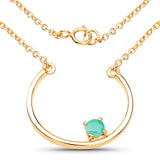LoveHuang 0.21 Carats Genuine Emerald Minimalist Horseshoes Necklace Solid .925 Sterling Silver With 18KT Yellow Gold Plating, 18Inch Chain