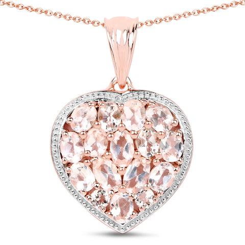 14K Rose Gold Plated 12.81 Carat Genuine Pink Chelcedonia and Morganite .925 Sterling Silver Pendant