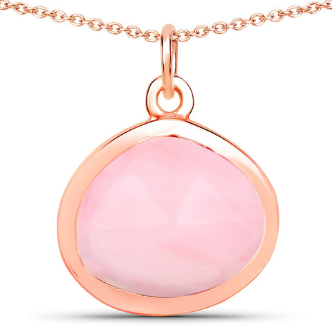 LoveHuang 2.74 Carats Genuine Pink Opal Rose Cut Drop Pendant Solid .925 Sterling Silver With 18KT Rose Gold Plating, 18 Inch Chain