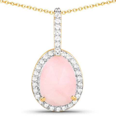 LoveHuang 1.53 Carats Genuine Pink Opal and White Topaz Halo Pendant Solid .925 Sterling Silver With 18KT Yellow Gold Plating, 18Inch Chain