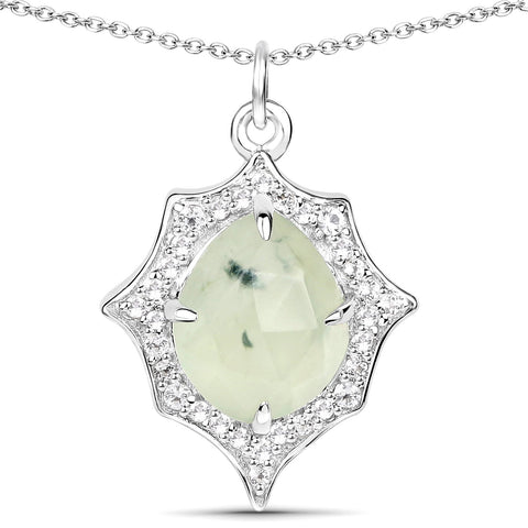 LoveHuang 2.76 Carats Genuine Prehnite and White Topaz Pendant Solid .925 Sterling Silver With Rhodium Plating, 18Inch Chain