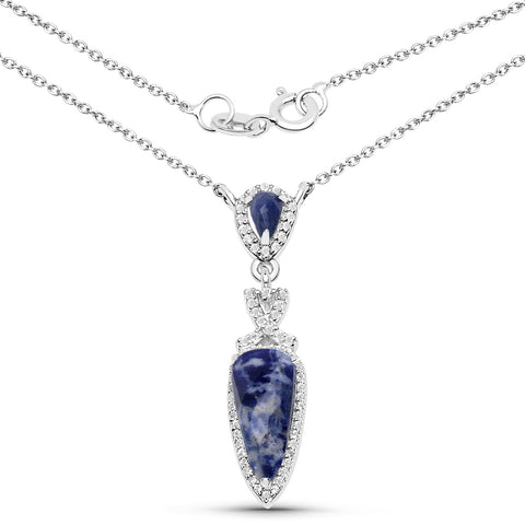LoveHuang 2.00 Carats Genuine Blue Aventurine and White Topaz Drop Pendant Solid .925 Sterling Silver With Rhodium Plating, 18Inch Chain