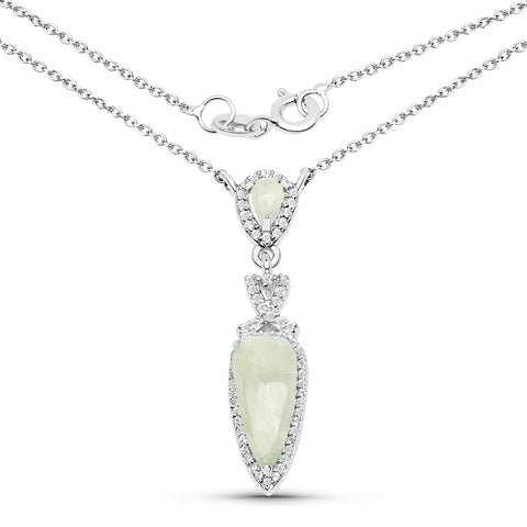 LoveHuang 2.43 Carats Genuine Prehnite and White Topaz Dangle Pendant Solid .925 Sterling Silver With Rhodium Plating, 18 Inch Chain