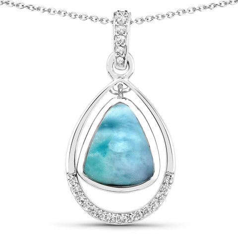 LoveHuang 3.38 Carats Genuine Larimar and White Topaz Dangle Pendant Solid .925 Sterling Silver With Rhodium Plating, 18 Inch Chain