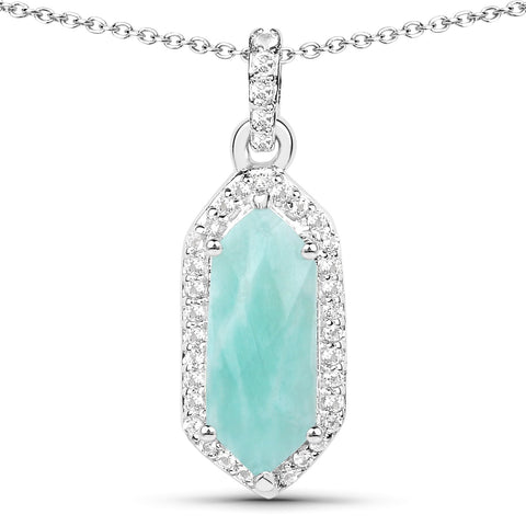 LoveHuang 1.98 Carats Genuine Amazonite and White Topaz Art Deco Pendant Solid .925 Sterling Silver With Rhodium Plating, 18Inch Chain