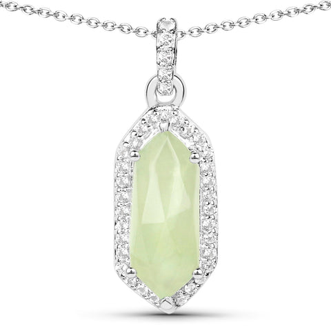 LoveHuang 2.15 Carats Genuine Prehnite and White Topaz Art Deco Pendant Solid .925 Sterling Silver With Rhodium Plating, 18Inch Chain