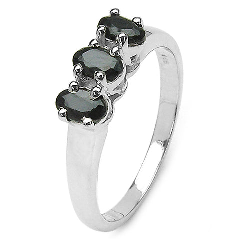 1.05 Carat Genuine Black Sapphire .925 Sterling Silver Ring