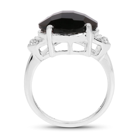 6.07 Carat Genuine Black Onyx and White Topaz .925 Sterling Silver Ring