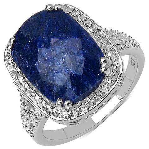 6.90 Carat Genuine Sapphire .925 Streling Silver Ring