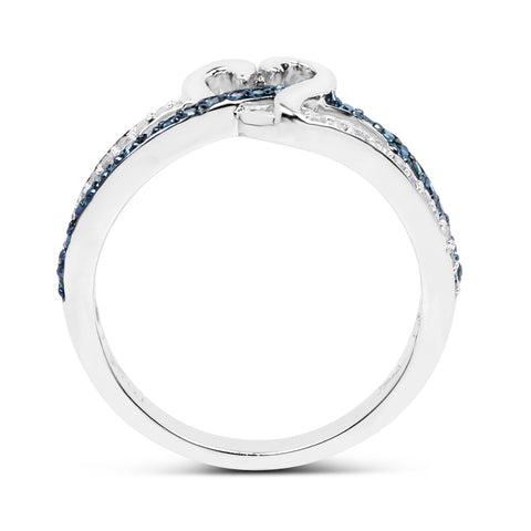 0.24 Carat Genuine Blue Diamond and White Diamond .925 Sterling Silver Ring