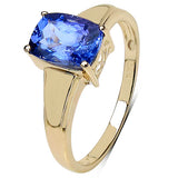 1.40 Carat Genuine Tanzanite 10K Yellow Gold Ring
