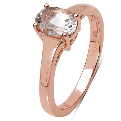 14K Rose Gold Plated 0.70 Carat Genuine Morganite .925 Sterling Silver Ring