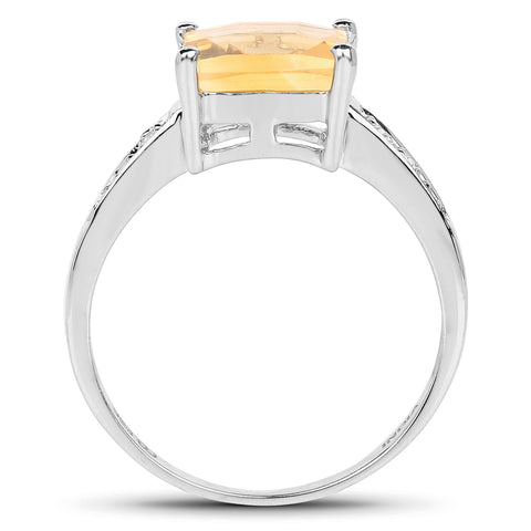 2.34 Carat Genuine Citrine and White Topaz .925 Sterling Silver Ring