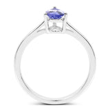 0.65 Carat Genuine Tanzanite .925 Sterling Silver Ring