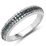 0.44 Carat Genuine Blue Diamond & White Diamond .925 Sterling Silver Ring