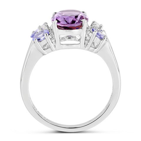 2.86 Carat Genuine Amethyst and Tanzanite .925 Sterling Silver Ring