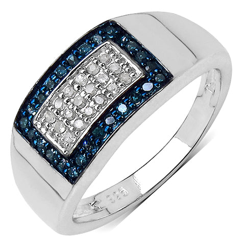 0.25 Carat Genuine Blue Diamond & White Diamond .925 Streling Silver Ring
