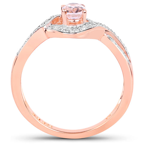 14K Rose Gold Plated 0.40 Carat Genuine Morganite .925 Sterling Silver Ring