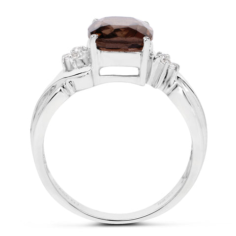 2.94 Carat Genuine Smoky Quartz & White Topaz Brass Ring
