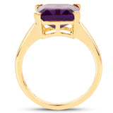 14K Yellow Gold Plated 4.62 Carat Genuine Amethyst .925 Sterling Silver Ring