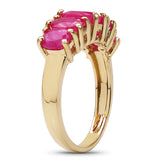 14K Yellow Gold Plated 3.10 Carat Genuine Ruby .925 Sterling Silver Ring