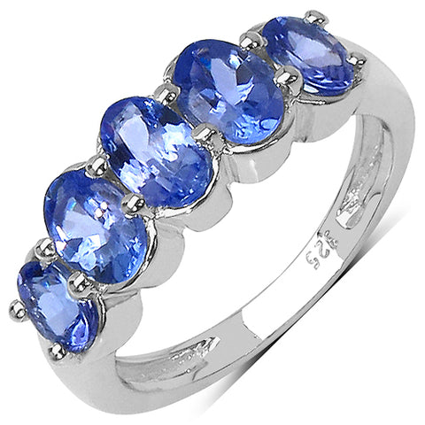 14K Yellow Gold Plated 1.98 Carat Genuine Tanzanite .925 Sterling Silver Ring