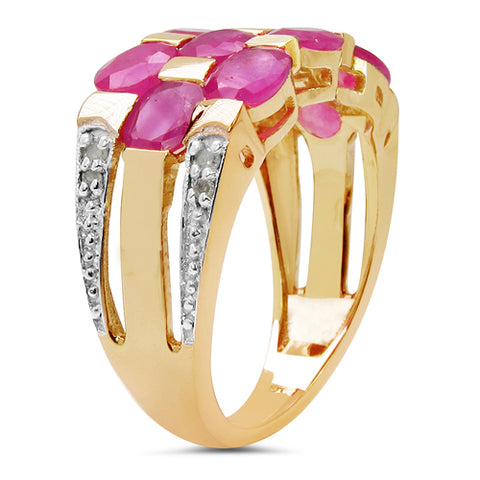 14K Yellow Gold Plated 5.06 Carat Genuine Ruby & White Diamond .925 Sterling Silver Ring