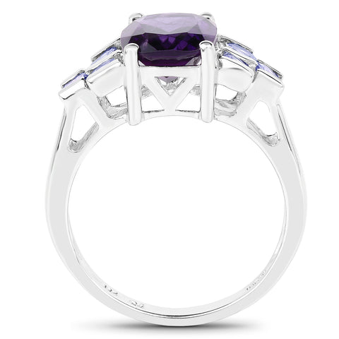 3.20 Carat Genuine Amethyst and Tanzanite .925 Sterling Silver Ring