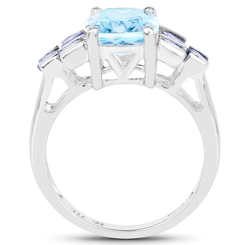4.10 Carat Genuine Blue Topaz and Tanzanite .925 Sterling Silver Ring