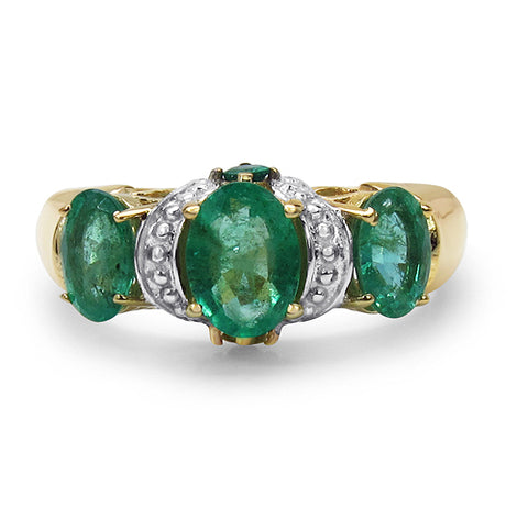 14K Yellow Gold Plated 1.85 Carat Genuine Emerald .925 Sterling Silver Ring
