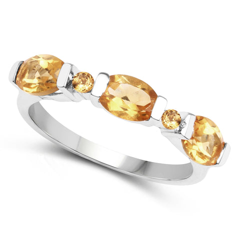 1.35 Carat Genuine Citrine .925 Sterling Silver Ring