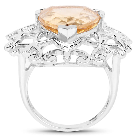 5.71 Carat Genuine Citrine .925 Sterling Silver Ring