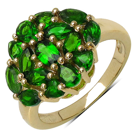 14K Yellow Gold Plated 1.60 Carat Genuine Chrome Diopside .925 Streling Silver Ring