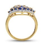 14K Yellow Gold Plated 2.16 Carat Genuine Tanzanite .925 Sterling Silver Ring