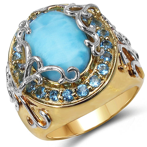Two Tone Plated 6.79 Carat Genuine Larimar & Blue Topaz .925 Sterling Silver Ring