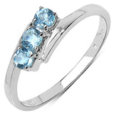 0.36 Carat Genuine Blue Topaz .925 Sterling Silver Ring