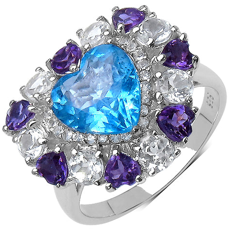 4.17 Carat Genuine Blue Topaz .925 Sterling Silver Ring