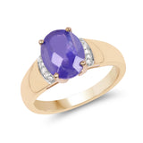 2.55 Carat Genuine Tanzanite & White Diamond 14K Yellow Gold Ring
