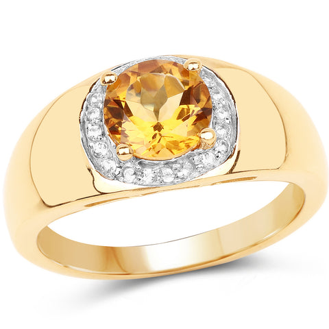 18K Yellow Gold Plated 1.30 Carat Genuine Citrine & White Topaz .925 Sterling Silver Ring