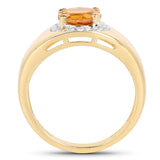 14K Yellow Gold Plated 1.30 Carat Genuine Citrine and White Topaz .925 Sterling Silver Ring