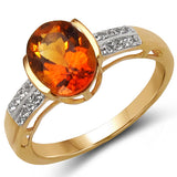 14K Yellow Gold Plated 1.88 Carat Genuine Citrine & White Topaz .925 Sterling Silver Ring