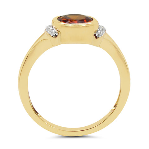 14K Yellow Gold Plated 1.27 Carat Genuine Citrine & White Topaz .925 Sterling Silver Ring