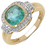 1.84 Carat Genuine Emerald & White Diamond 10K Yellow Gold Ring