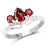 1.29 Carat Genuine Garnet .925 Sterling Silver Ring