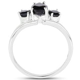 1.23 Carat Genuine Black Sapphire .925 Sterling Silver Ring