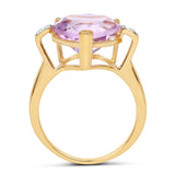 14K Yellow Gold Plated 5.26 Carat Genuine Pink Amethyst and White Topaz .925 Sterling Silver Ring