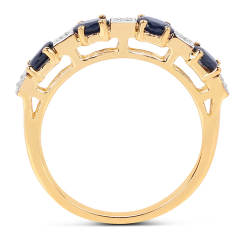14K Yellow Gold Plated 0.91 Carat Genuine Blue Sapphire & White Diamond .925 Sterling Silver Ring