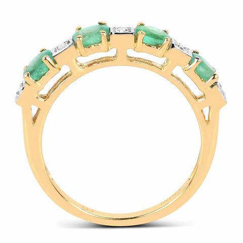 14K Yellow Gold Plated 0.59 Carat Genuine Emerald and White Diamond .925 Sterling Silver Ring